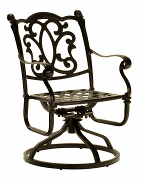 Image Bordeaux Patio Swivel Rocker Dining Chair Cast Aluminum