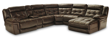 Spacer Hallmark 6 Piece Leather Power Recline Sectional (2 Reclining Seats,  1 With Power)
