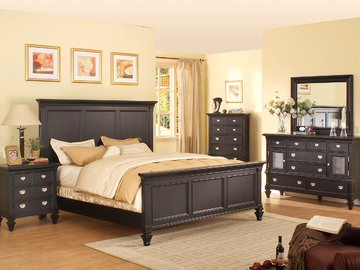 Superb Image Summer Breeze Queen Black Panel Bedroom Suite