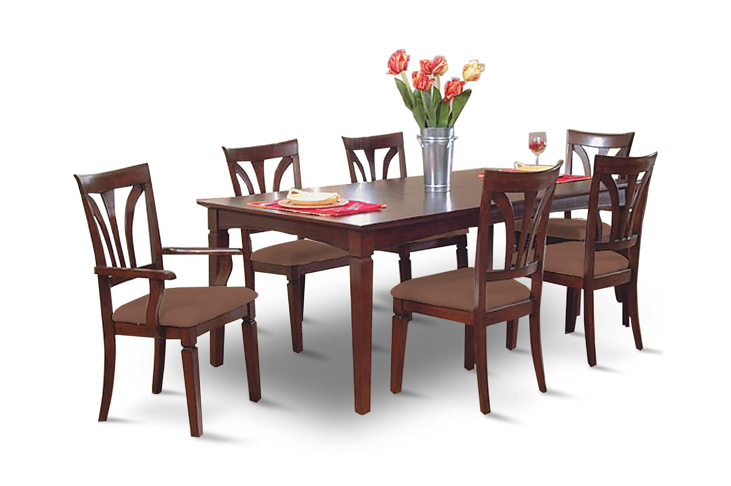 Image Madison Avenue Dining Table With 4 Side Chairs And 2 Arm Chairs.