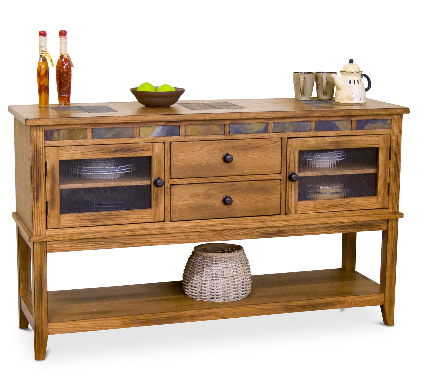 Charming Sedona Rustic Oak Slate Top Server ...