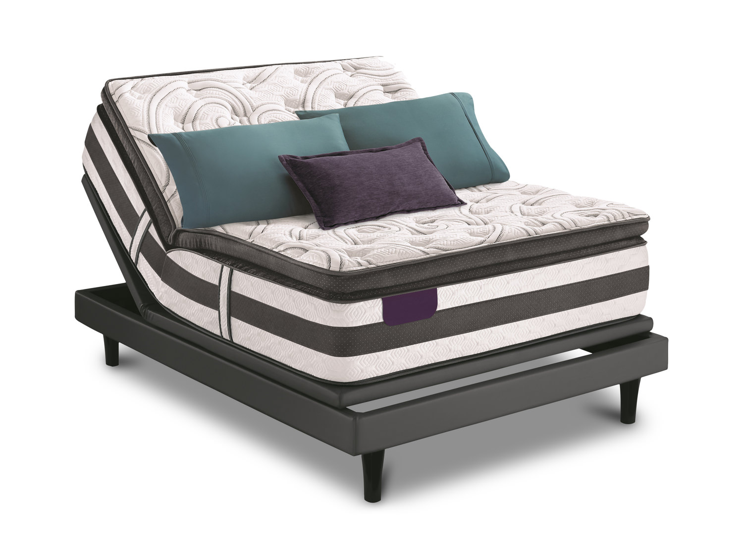 Expertise Super Pillow Top King Mattress Set With Divided King Mp3 Adjustable Base By Serta Dock86