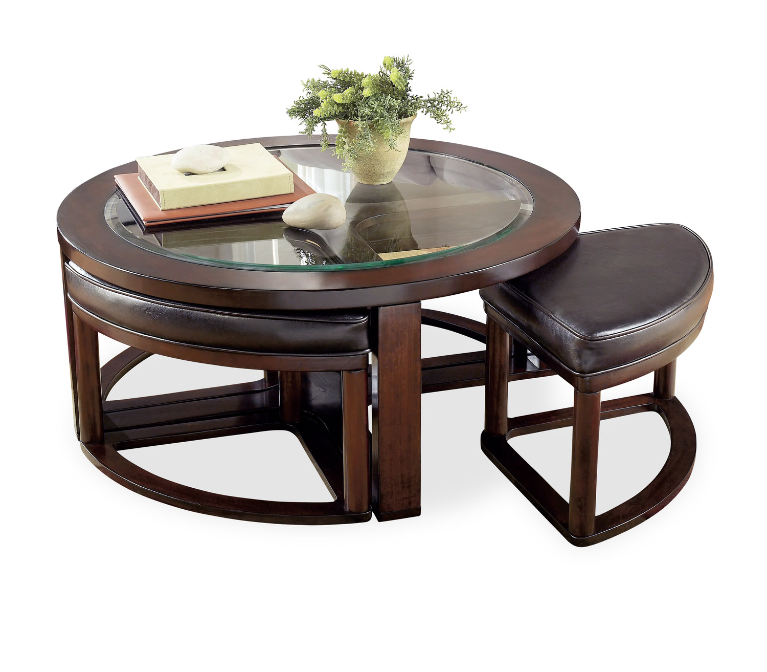 Charmant Marion Round Coffee Table With 4 Ottomans ...
