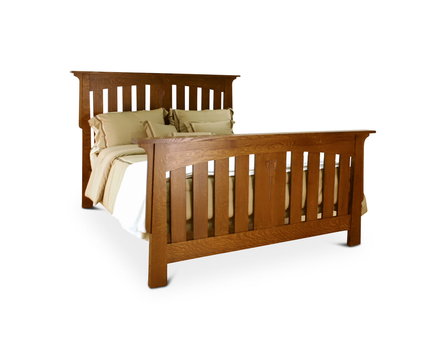 Amish Craftsmen Aurora Quartersawn White Oak Bed HOM .