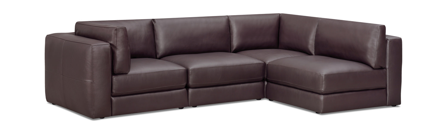 Interchange 4 Piece Leather Modular Sectional
