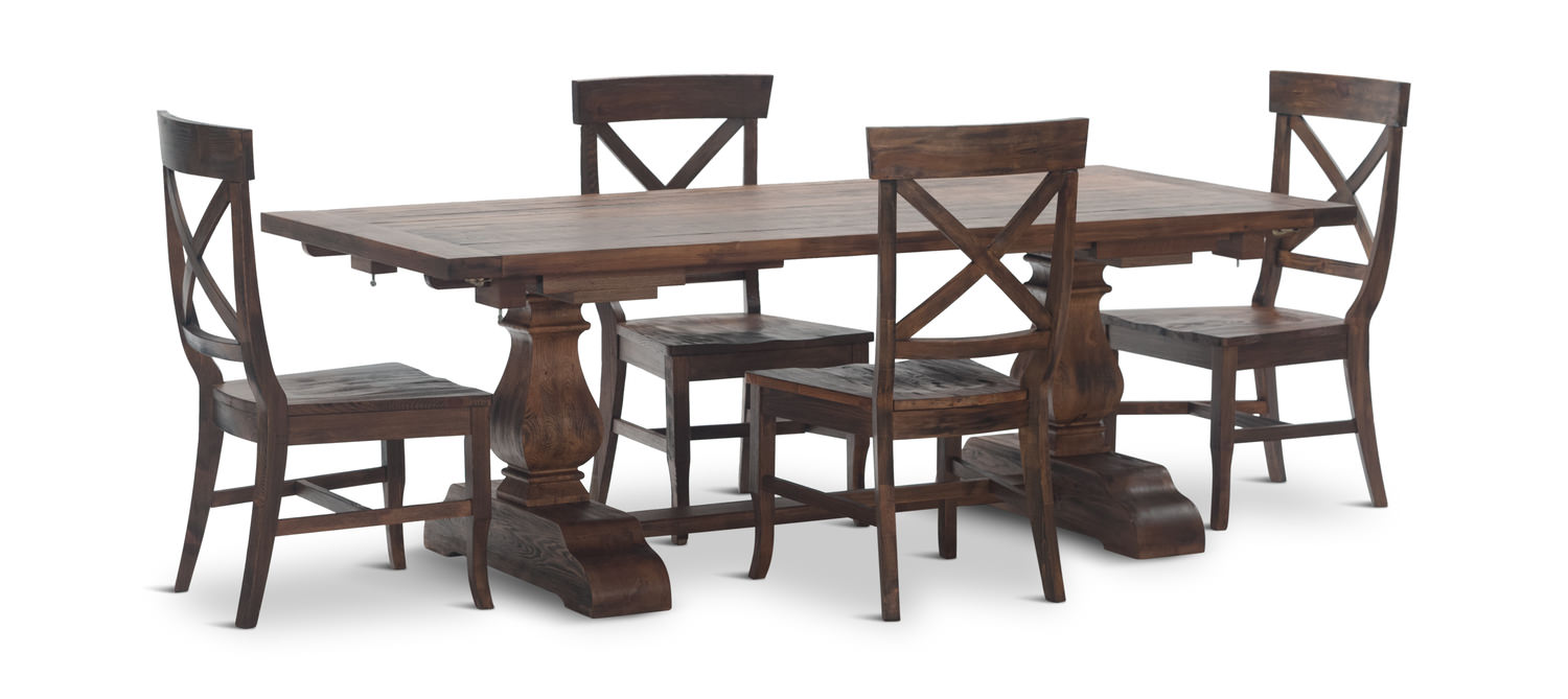 Pineridge Trestle Table with 4 side chairs by Thomas Cole