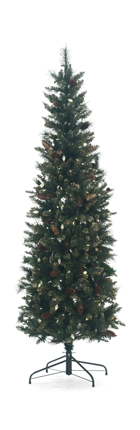 yorkville pine 7 pre lit artificial christmas tree with clear led lights - Black Artificial Christmas Tree