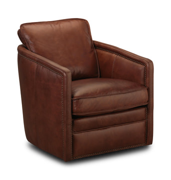 Image Pivot Leather Swivel Chair   St. Charles Bourbon