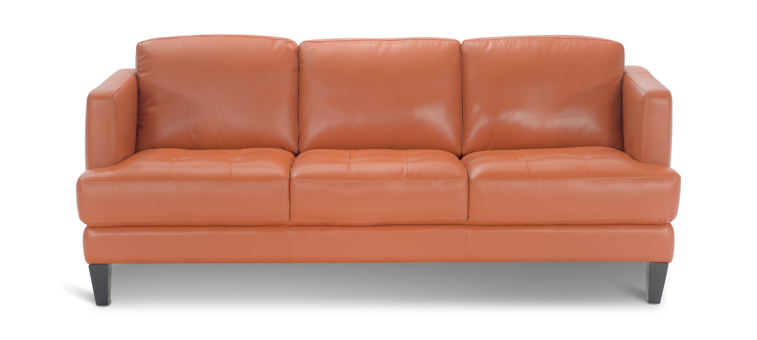 Beau Galore Leather Sofa   Tangerine ...