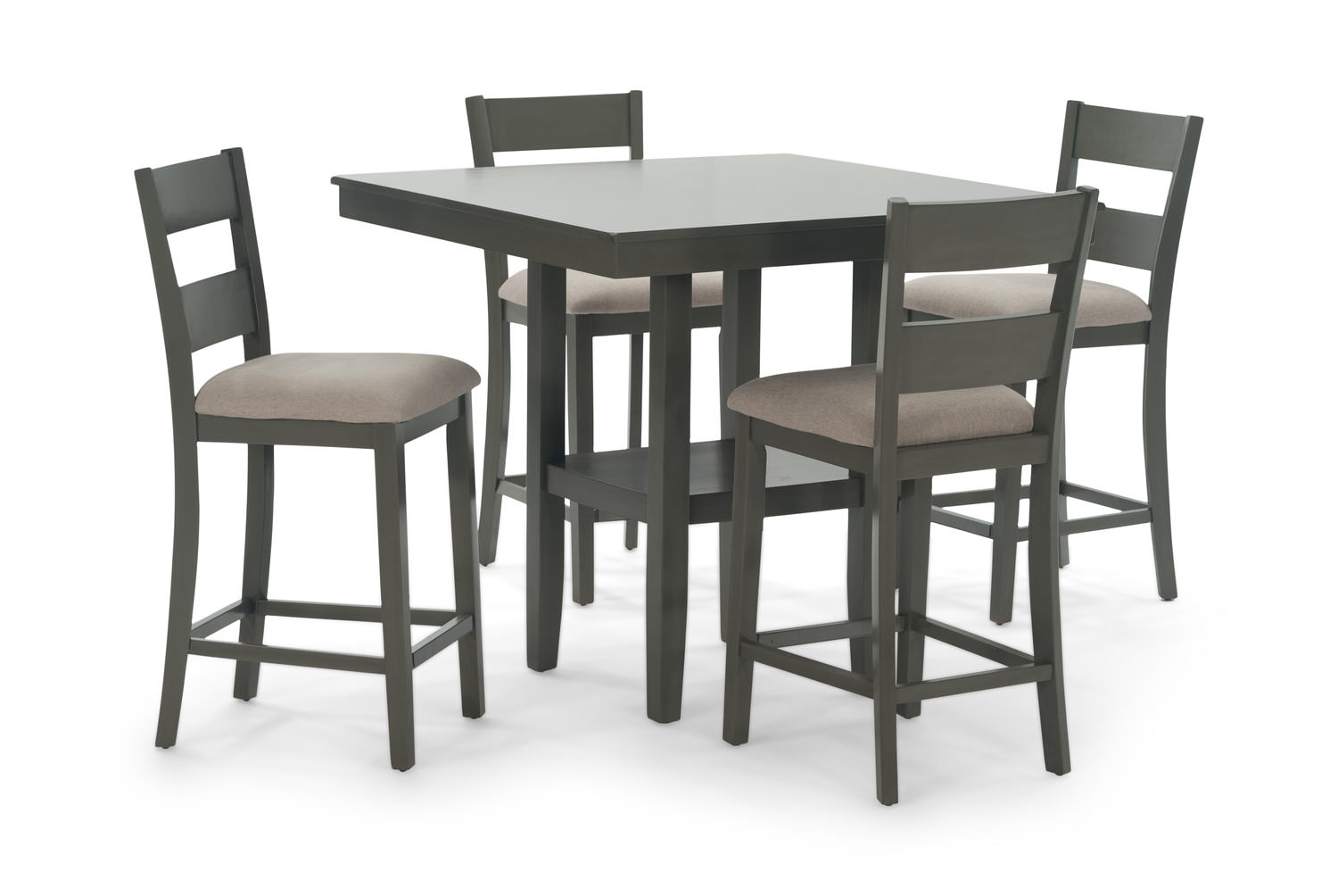 Loft grey counter height table with 4 counterstools hom for Dining room tables 38 inches wide