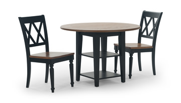 Image Al Fresco Black Drop Leaf Table And 2 Side Chairs