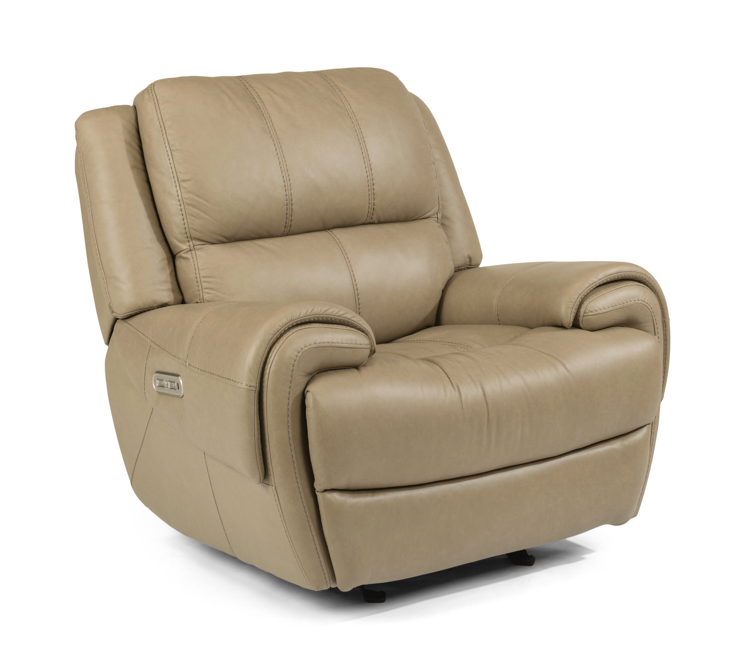 Metro Leather Power Lay Flat Glider Recliner With
