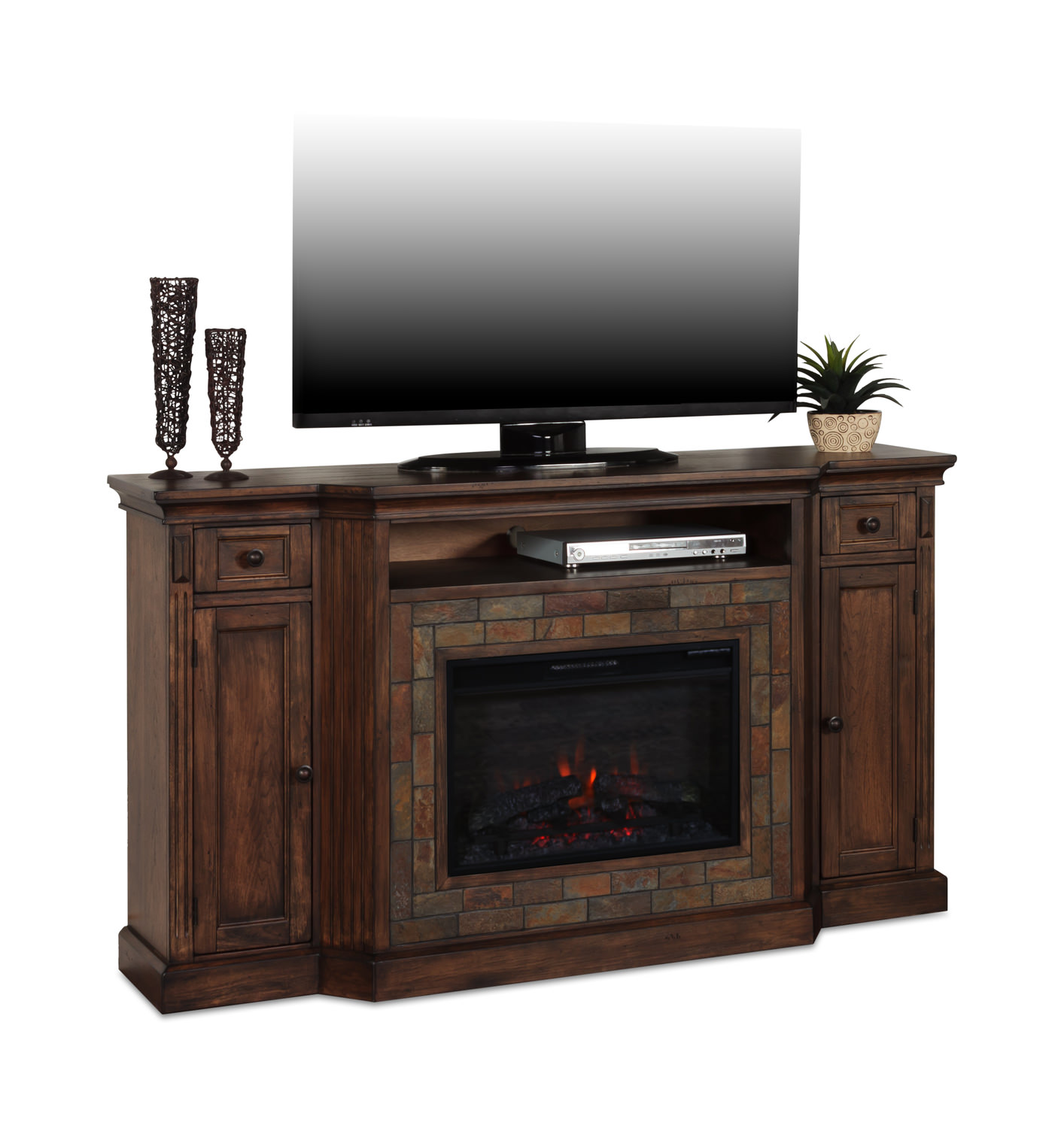 Savanna Electric Fireplace Media Console Hom Furniture