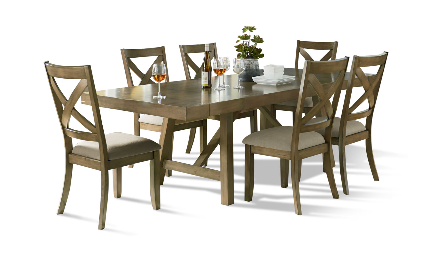 Omaha dining table with 4 woodback side chairs hom furniture for Outdoor furniture omaha