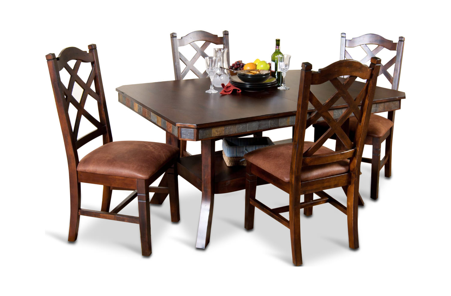 Santa Fe Double Butterfly Table With 4 Side Chairs ...