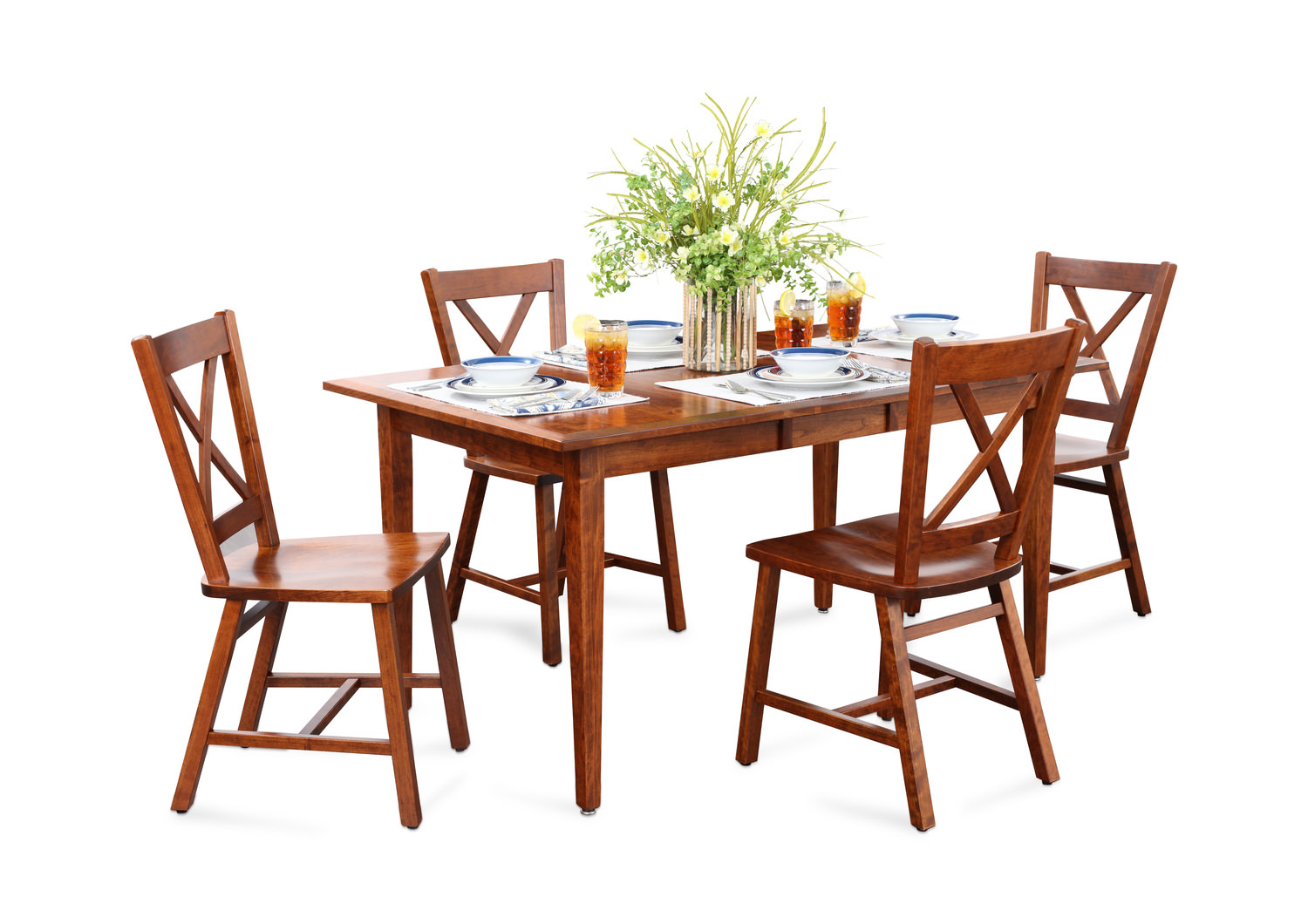 Eagle mountain cherry dining table with 4 side chairs for Side chairs for dining table