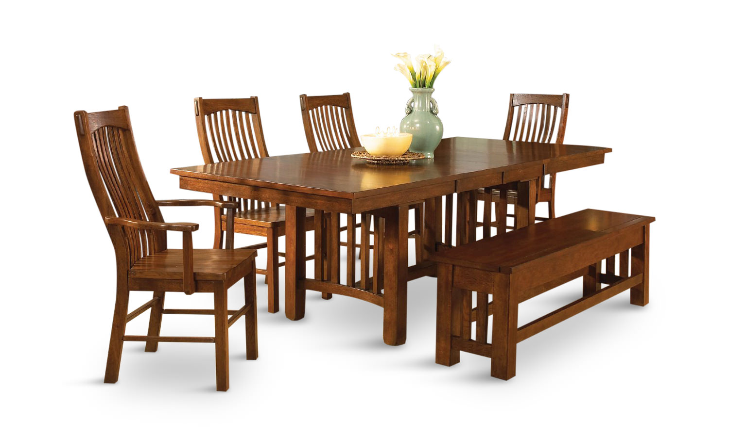 Laurelhurst Solid Oak Mission Table With 4 Side Chairs And