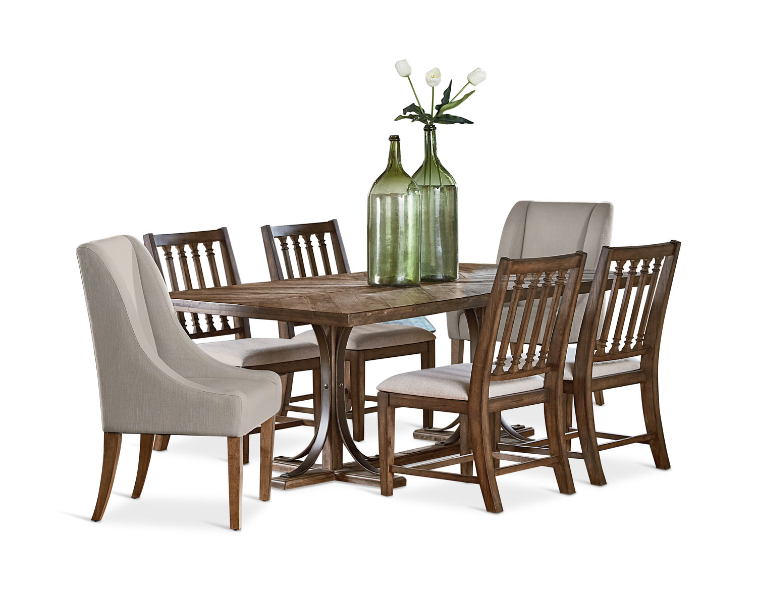 sc 1 st  HOM Furniture & Trestle Dining Table With 4 Revival Side And | HOM Furniture