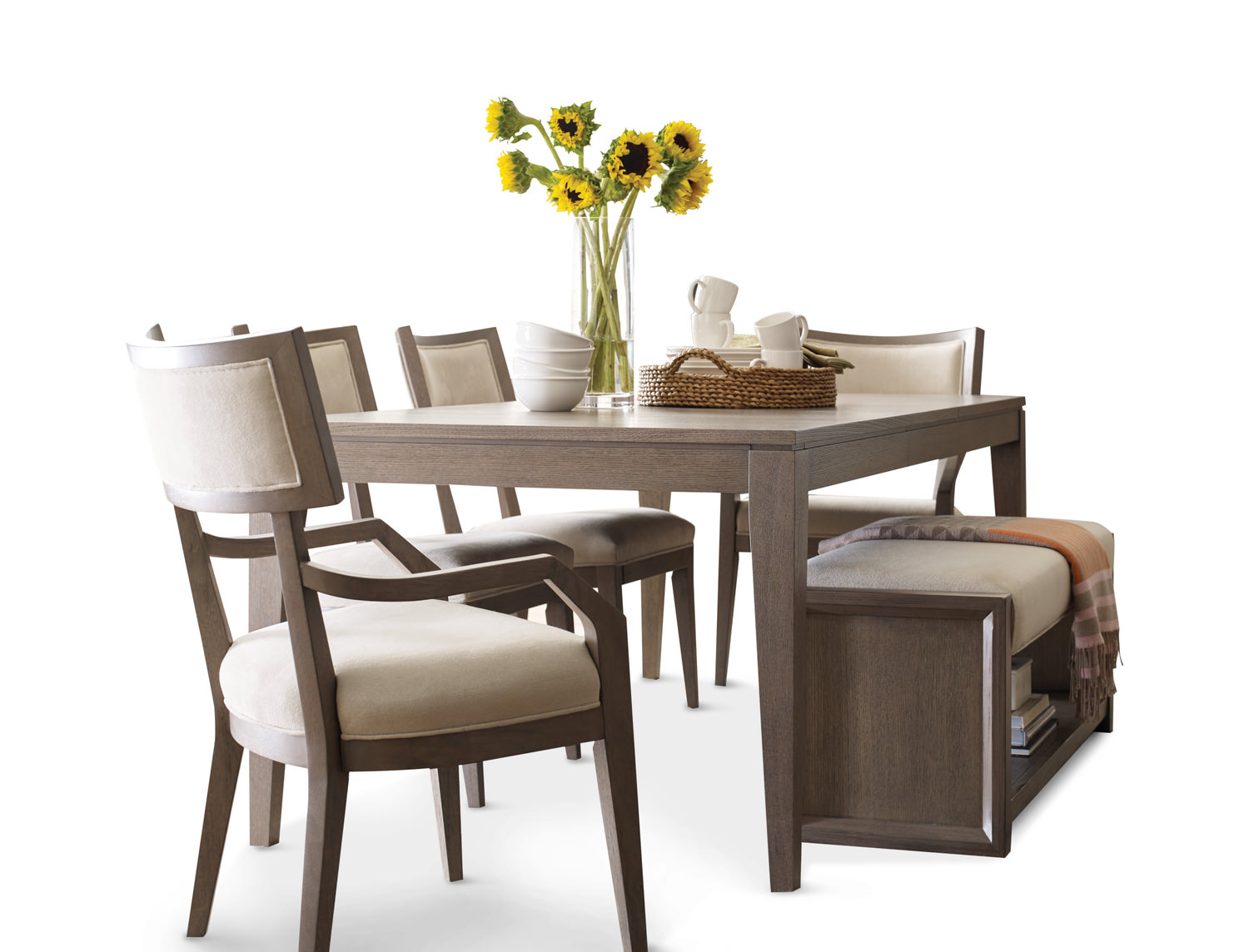 highline leg table with 4 klismo dining chairs 2 klismo arm chairs and bench by rachael ray. Black Bedroom Furniture Sets. Home Design Ideas