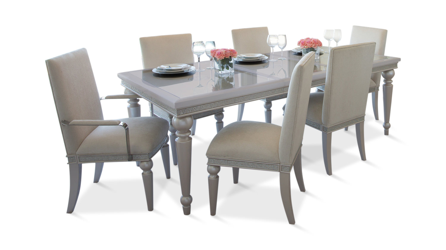 Glimmering Heights Dining Table With 4 Side Hom Furniture