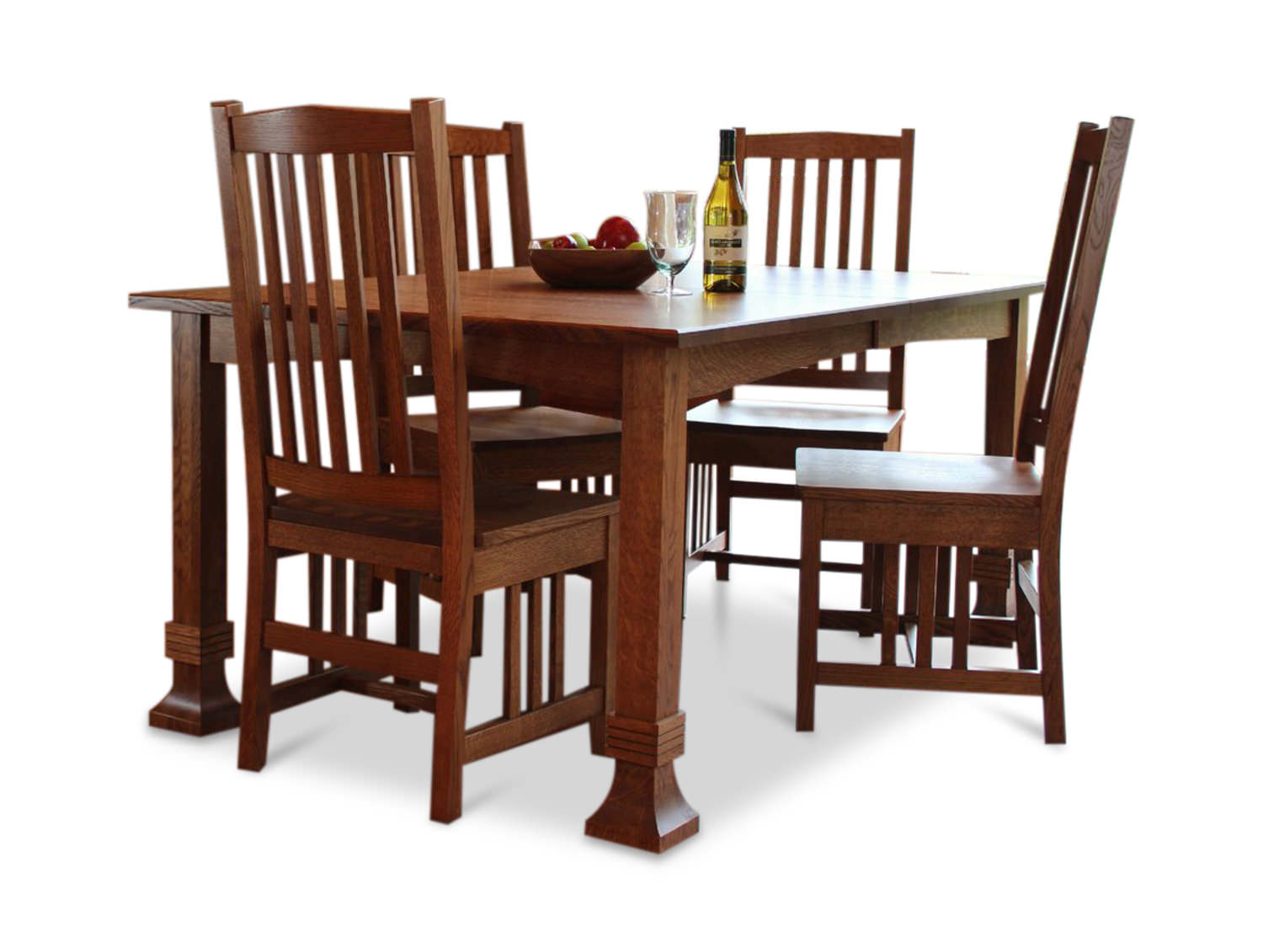 Amish Mission Quartersawn White Oak Table And 4 Side Chairs