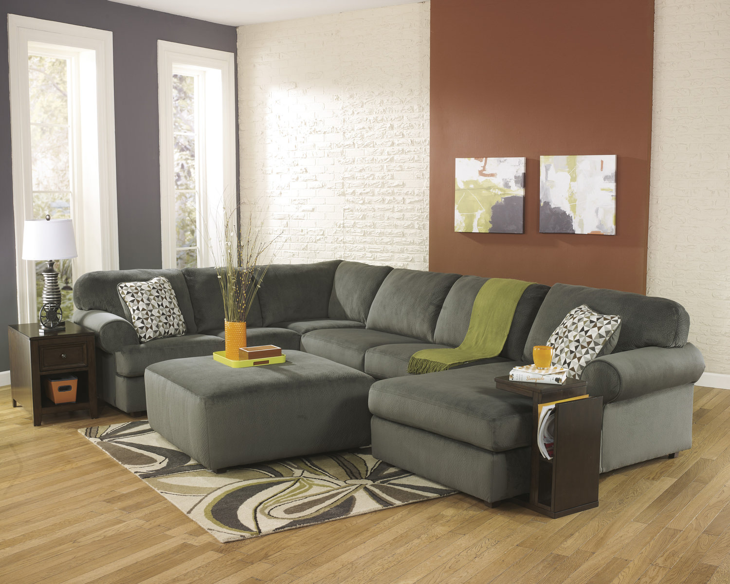 Genial Coach 3 Piece Sectional   Pewter ...