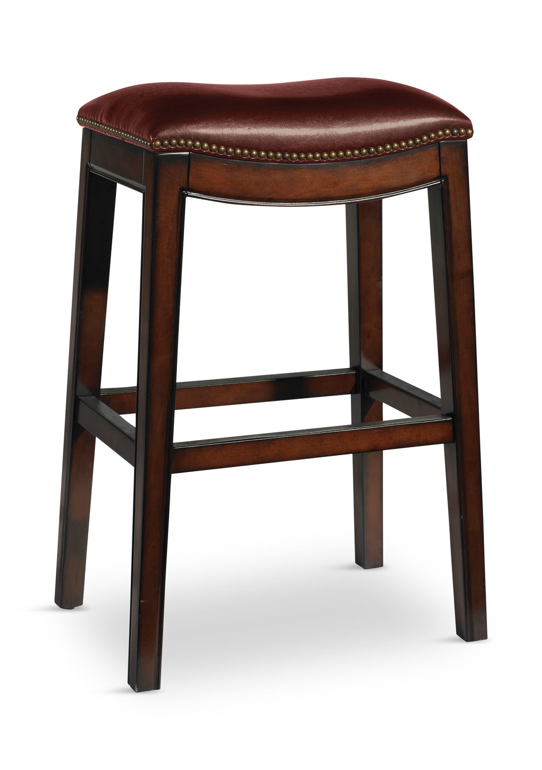 Wave Leather Saddle Seat Bar Stool