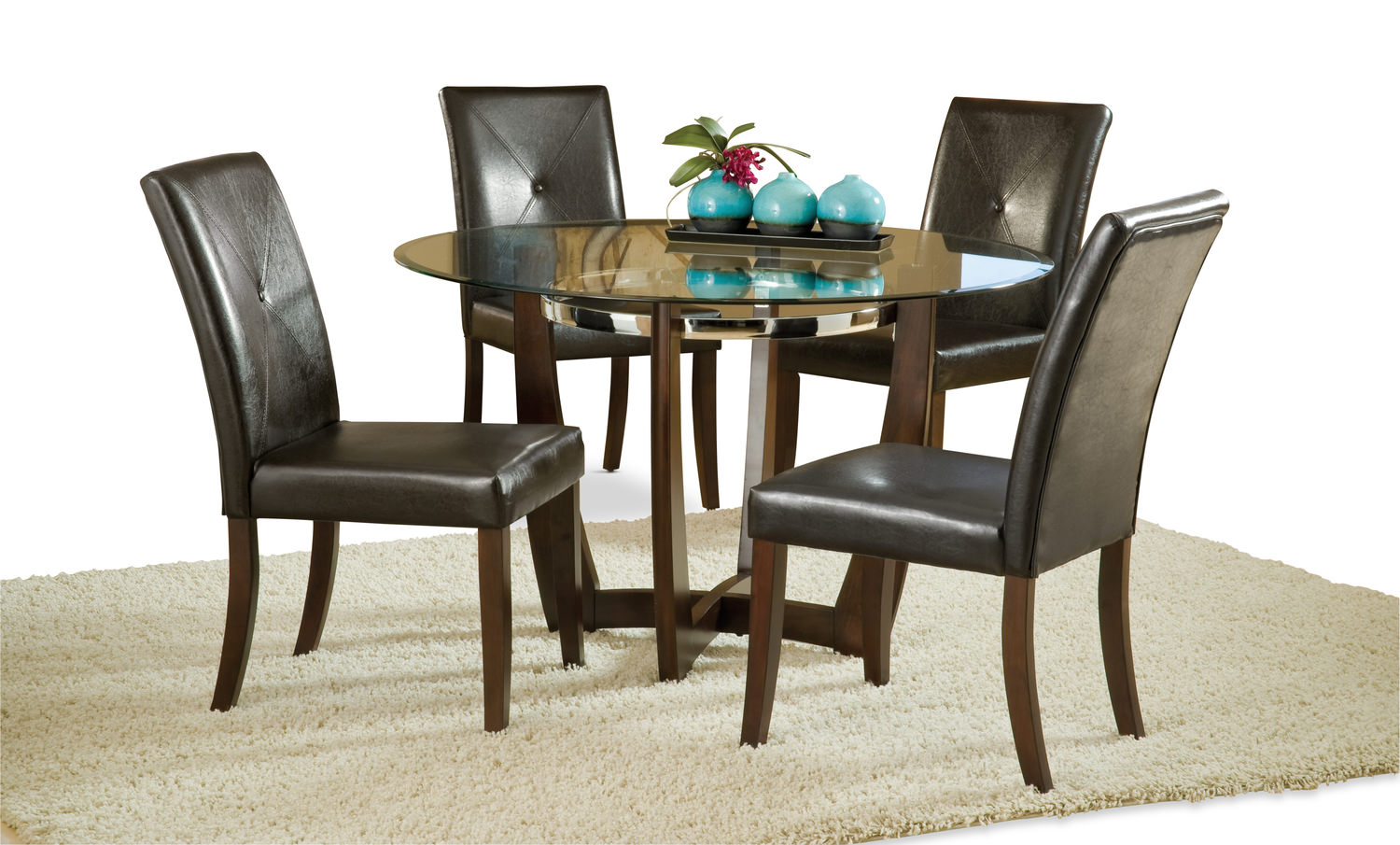 venus glass top table with 4 dining chairs dock86. Black Bedroom Furniture Sets. Home Design Ideas