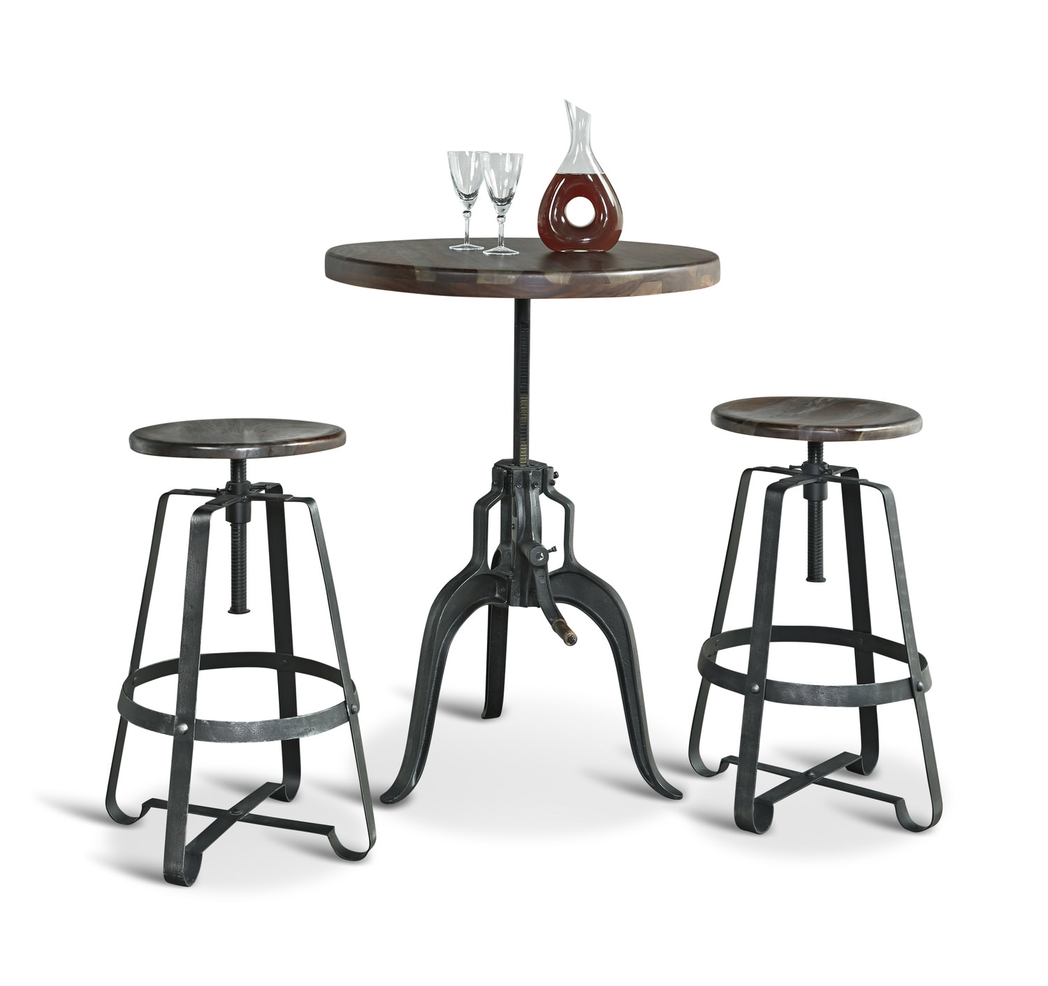 Liverpool Adjustable Height Table With 2 Adjustable Height Stools ...