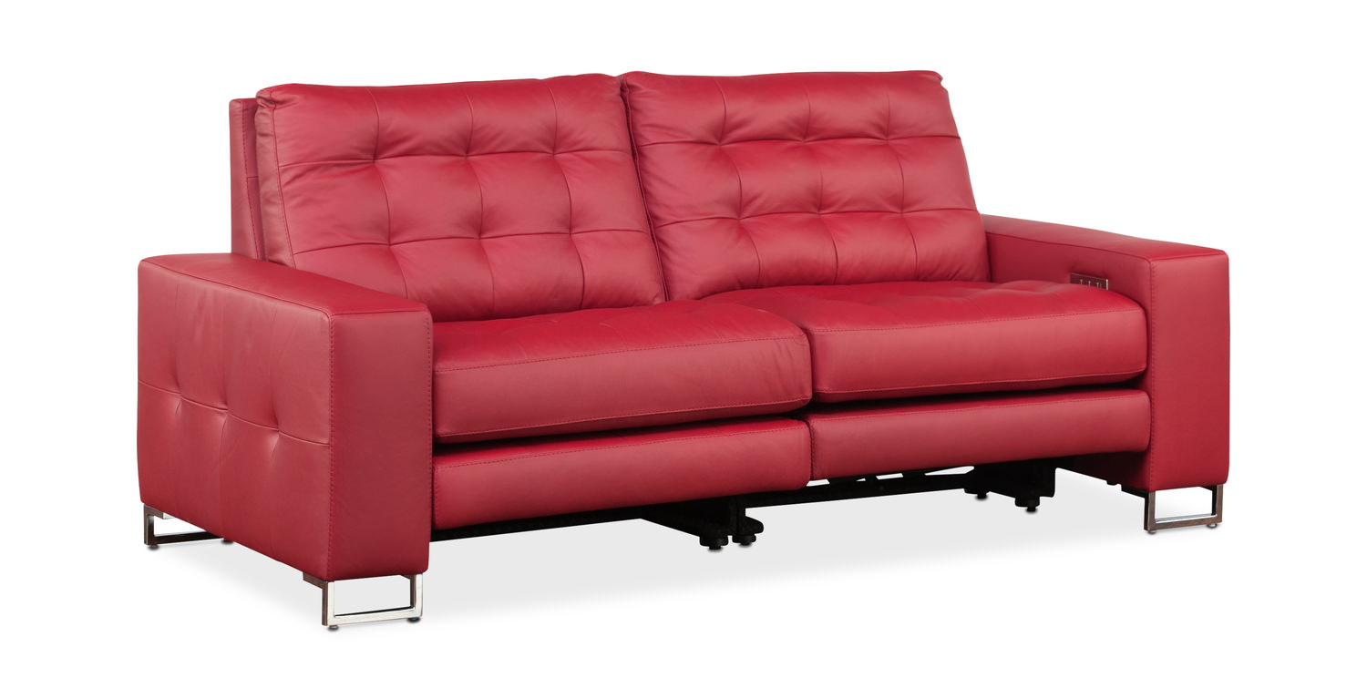 Hudson Leather Power Reclining Sofa By American Gabberts