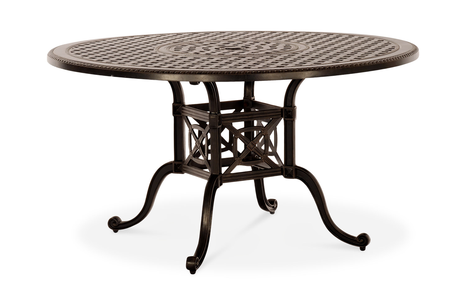 Grand terrace 54 round dining table cast by gensun for Outdoor dining sets for 6 round table