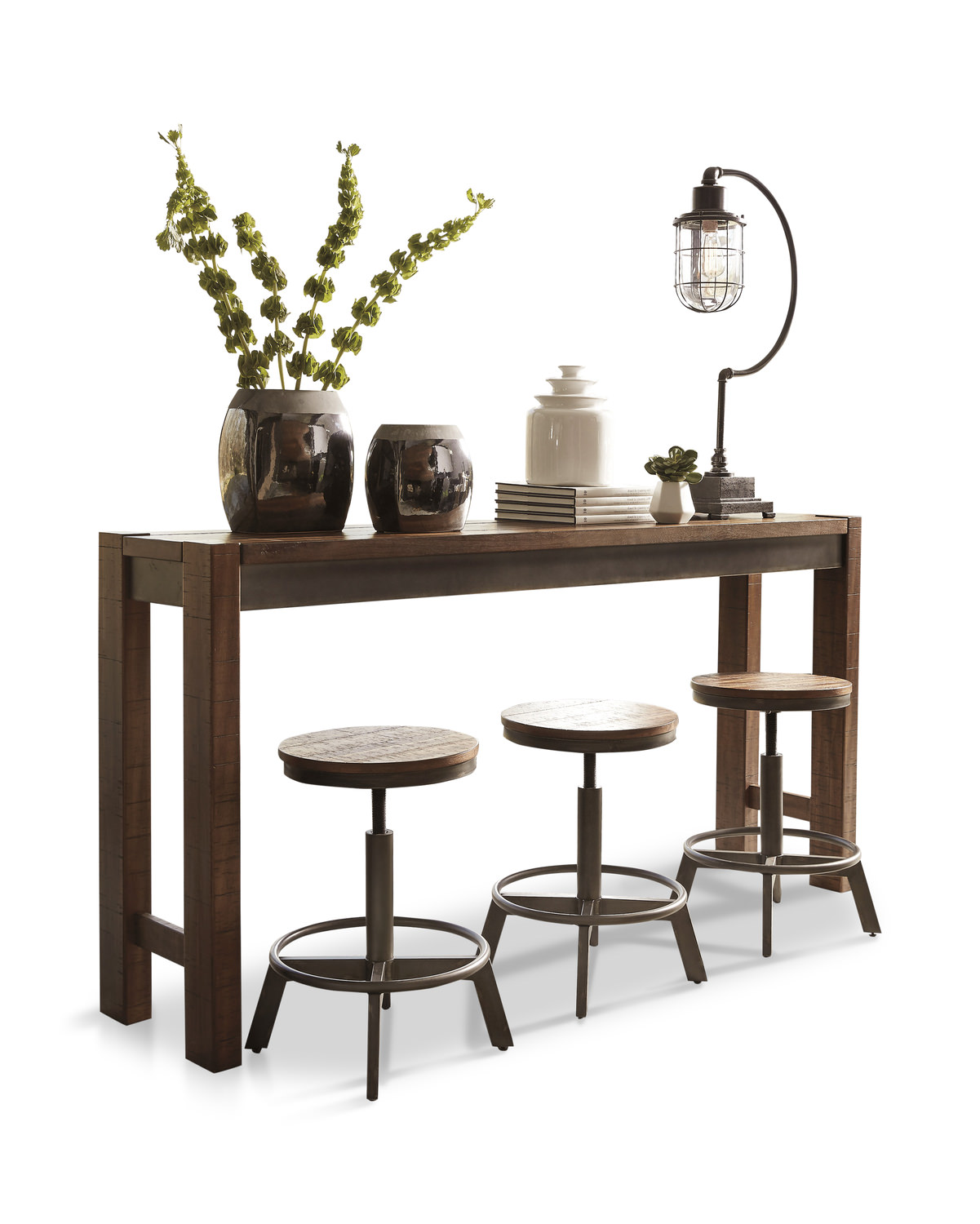 sofa table with stools Torjin XL Sofa Table with 3 Stools | HOM Furniture sofa table with stools