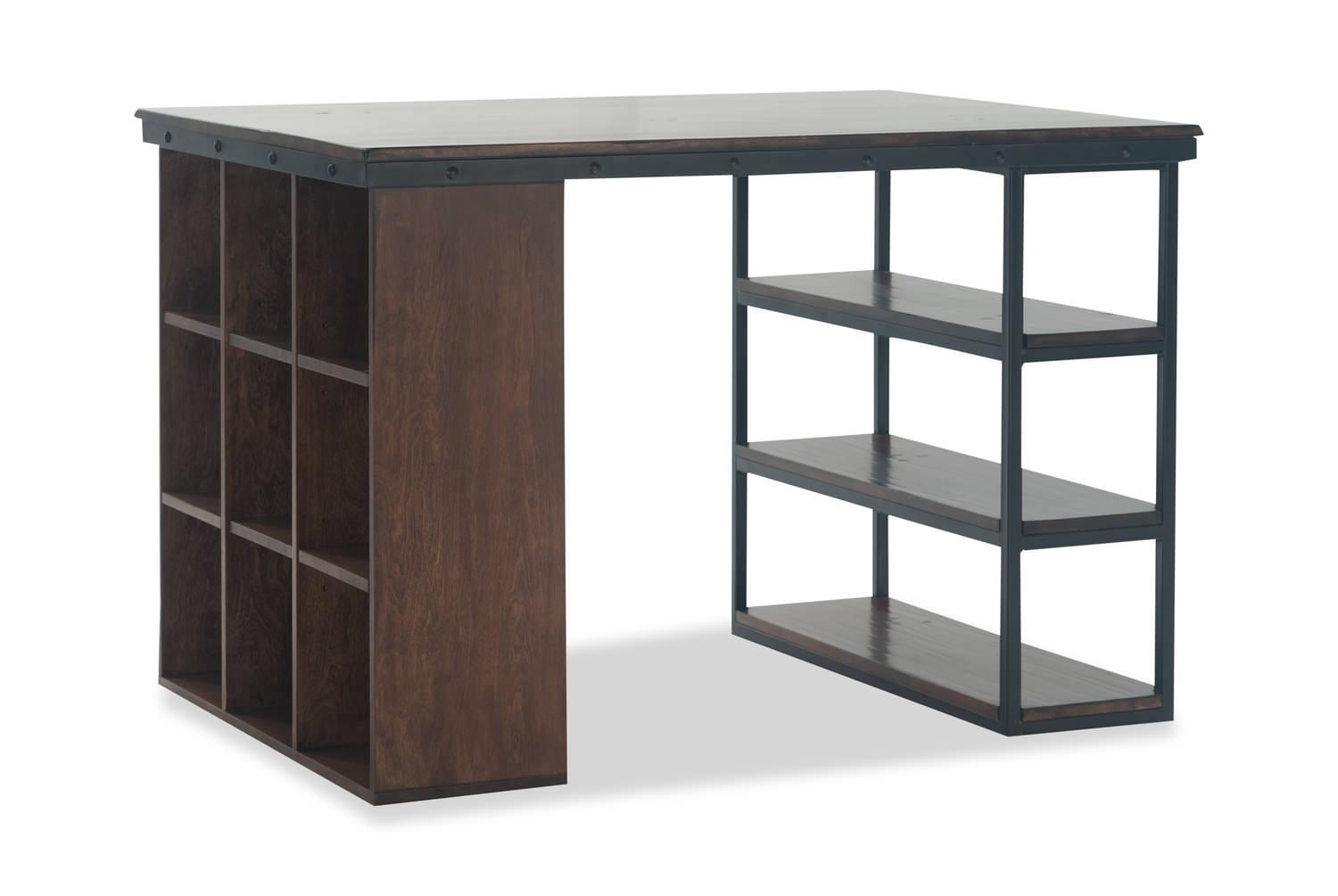 Pembroke Project Table with 1 Wooden Bookcase and 1 Wood and Metal