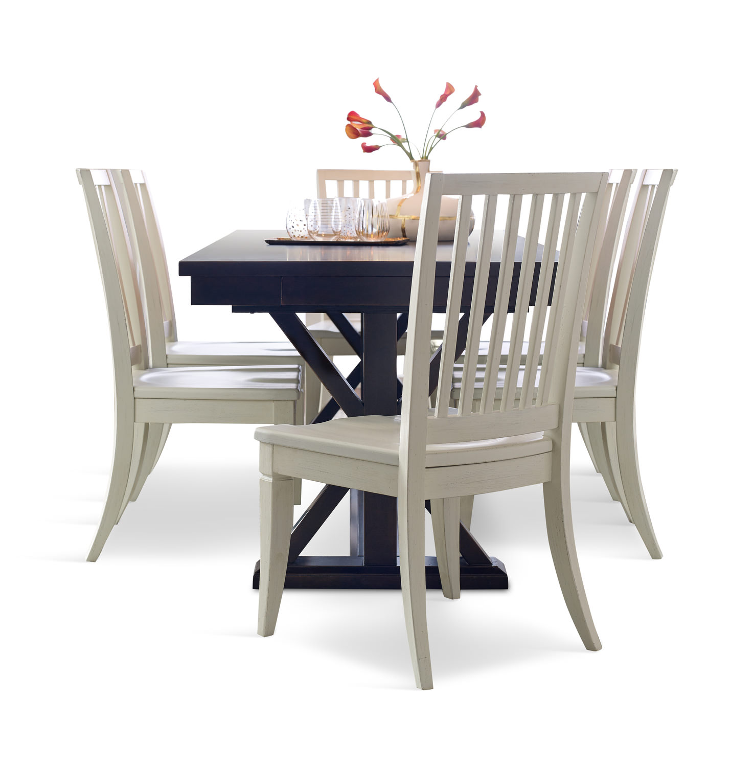 Rachael Ray Peppercorn Trestle Table With 4 Sea Salt Slat Back Dining Chairs  ...