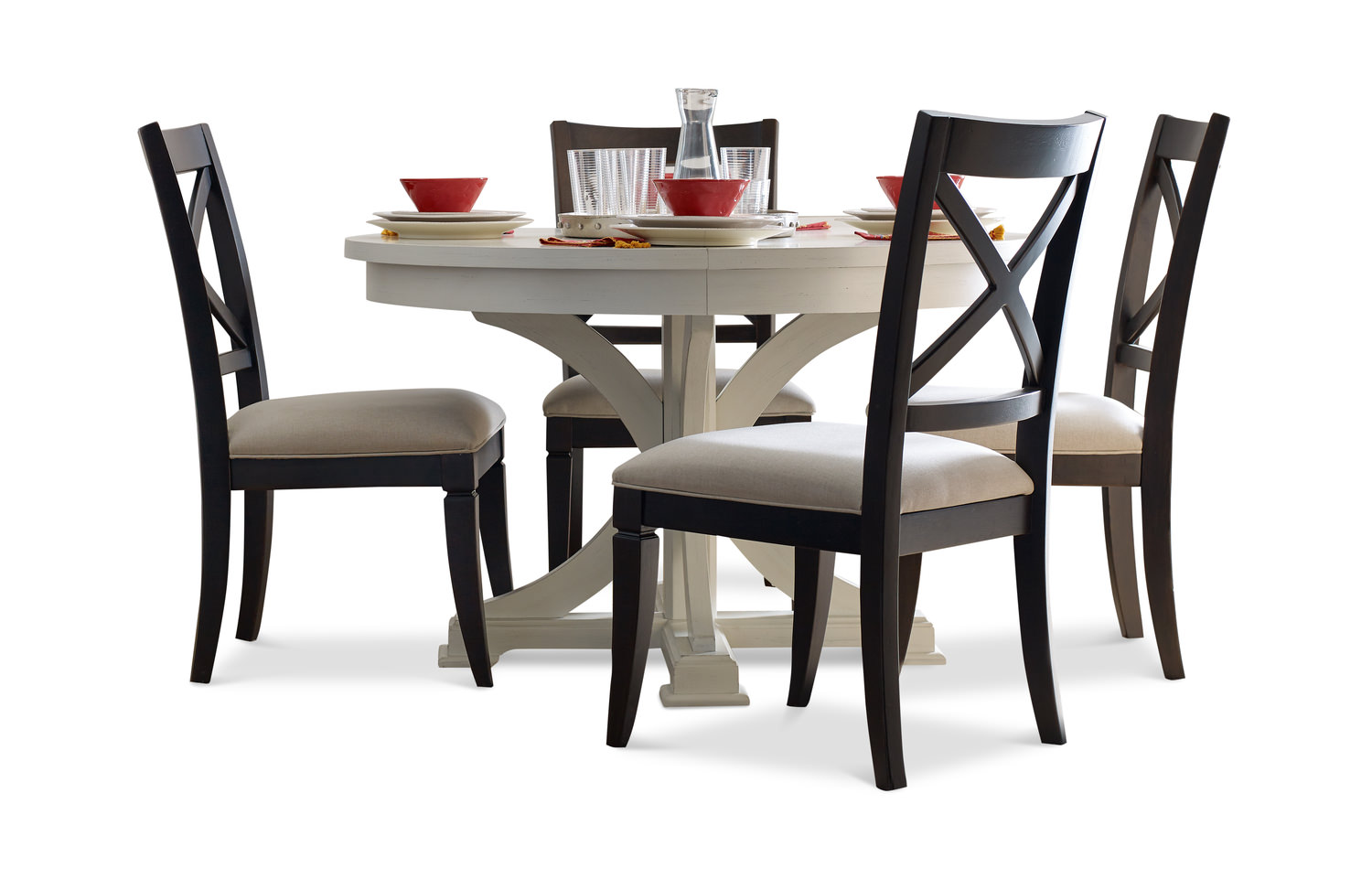 Round Table In Sea Salt And 4 X Back Dining Chairs Peppercorn