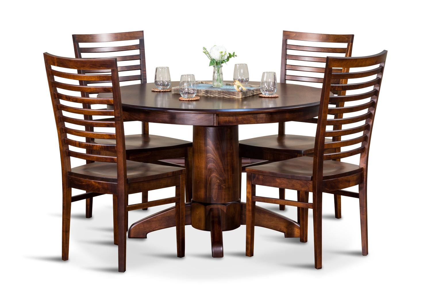 Tucson Amish Maple Round Table With 4 Chairs