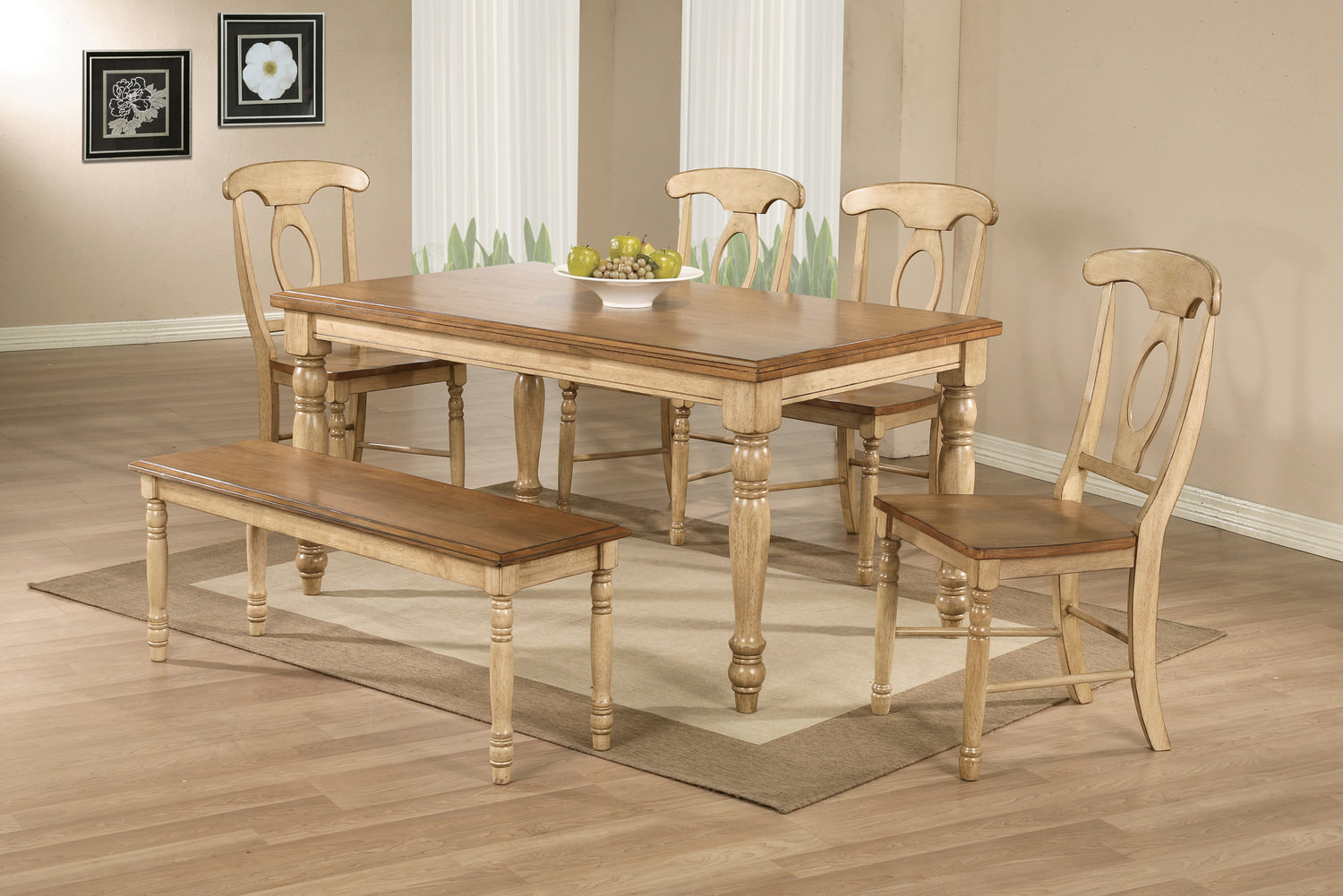 Quails Run Table With 4 Napoleon Chairs And Dining Bench ...