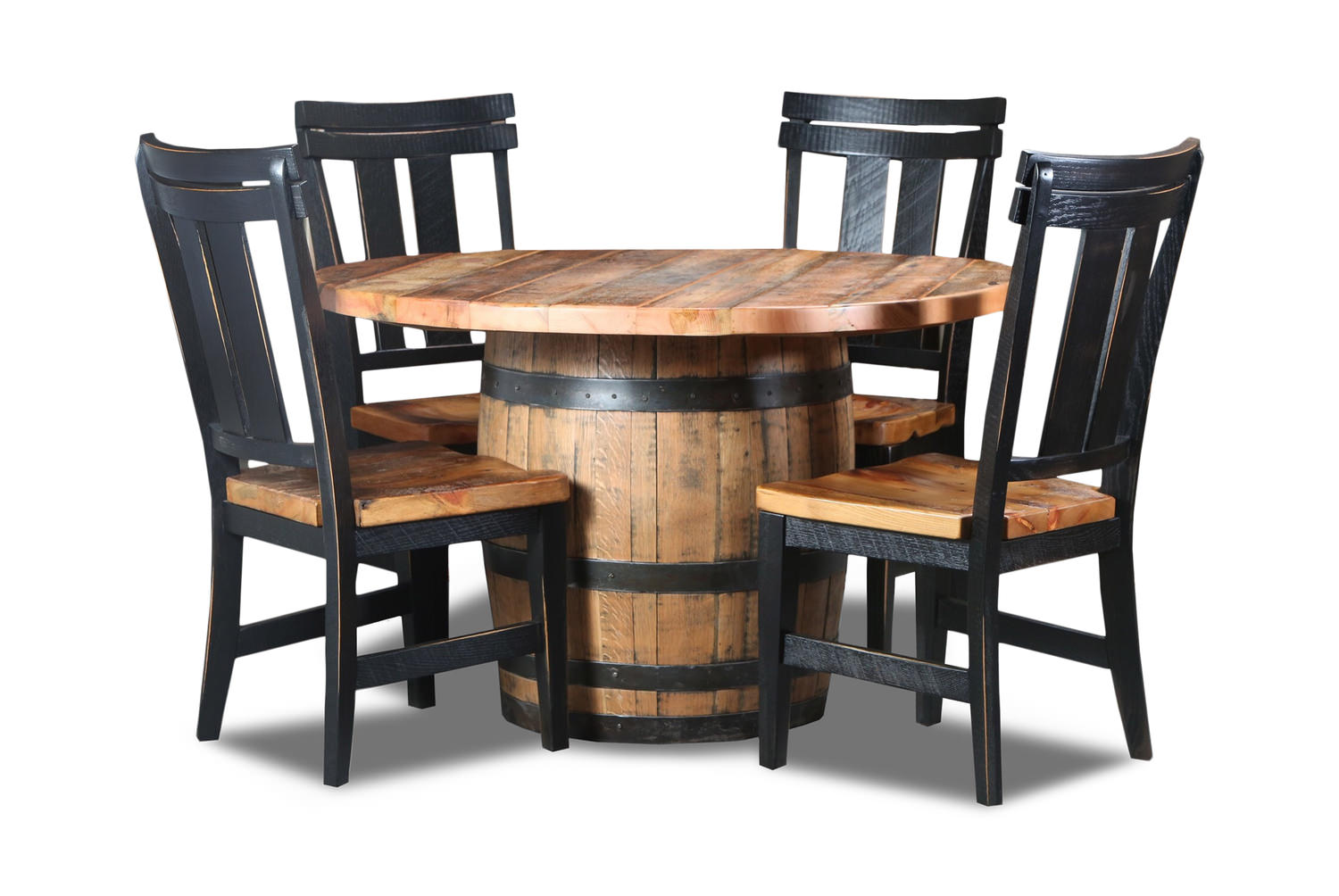 Old Globe Granary Top Whiskey Barrel Table And 4 Chairs