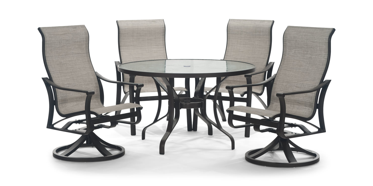 Corsica 5 Piece Patio Dining Set Glass Top Hom Furniture