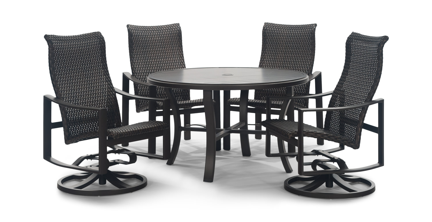 Kenzo 5 Piece Woven Patio Dining Set Slat Hom Furniture