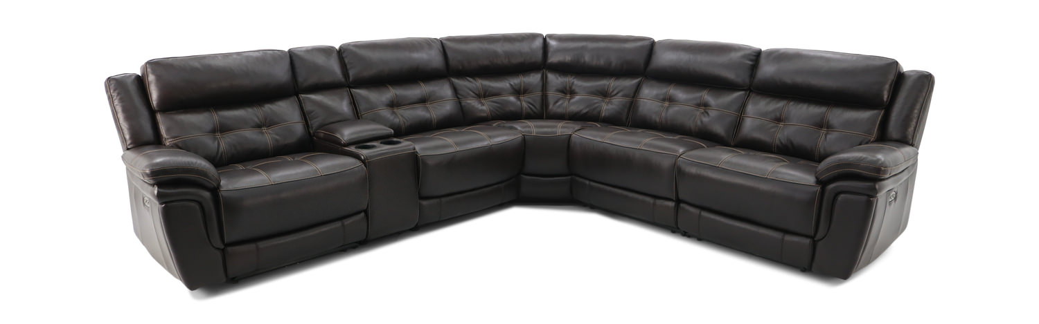 Hallmark 6 Piece Leather Power Reclining Modular Sectional