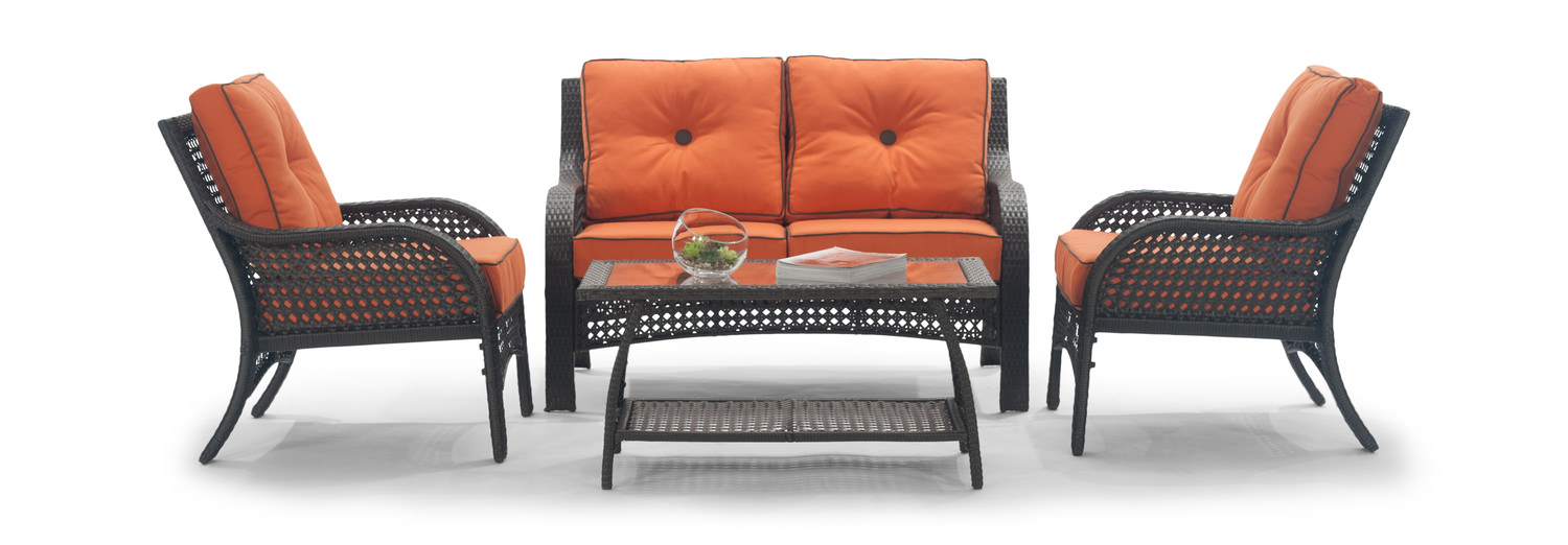 Lakewood 4 Piece Wicker Patio Set By