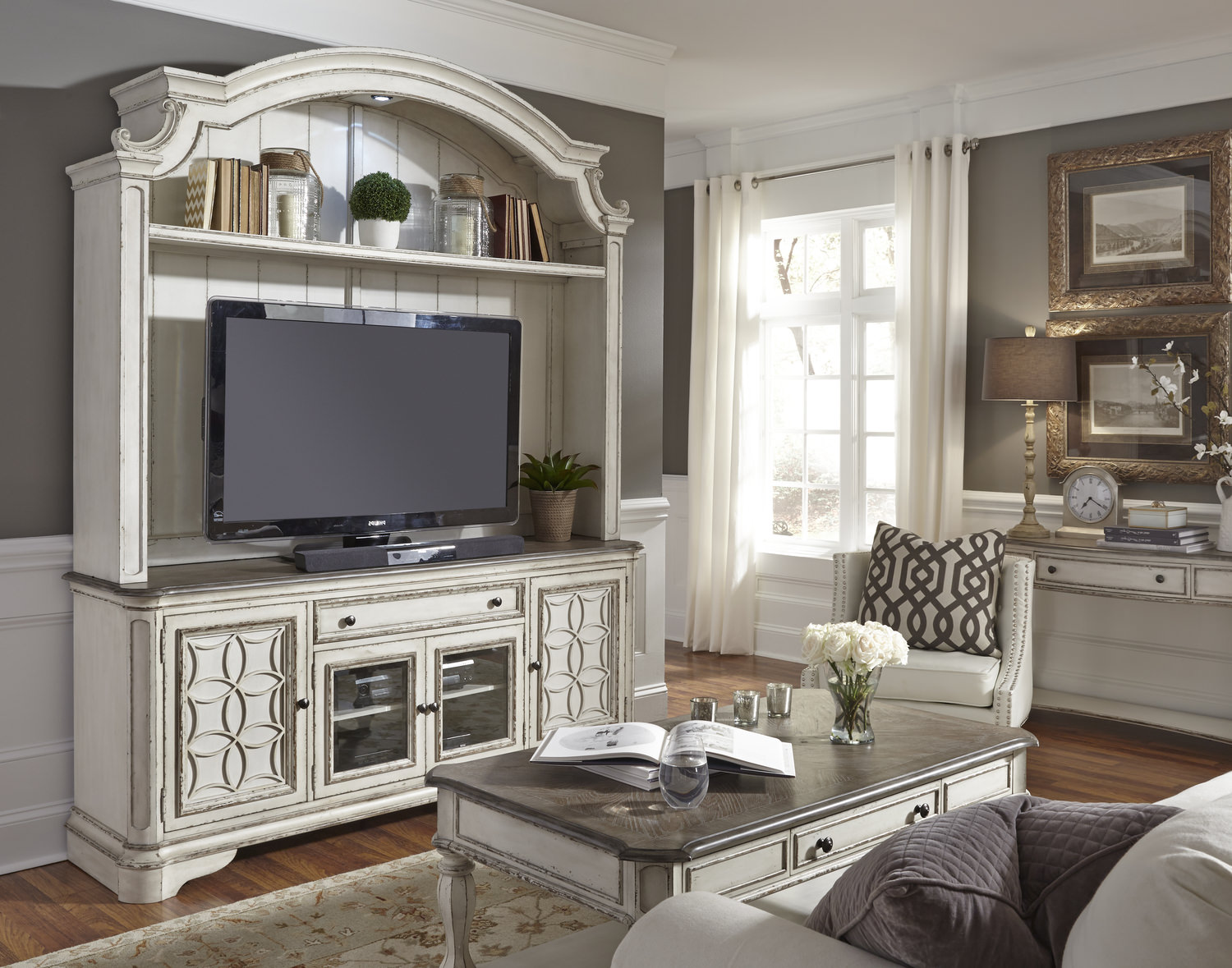 Magnolia Manor Console With Hutch Hom Furniture