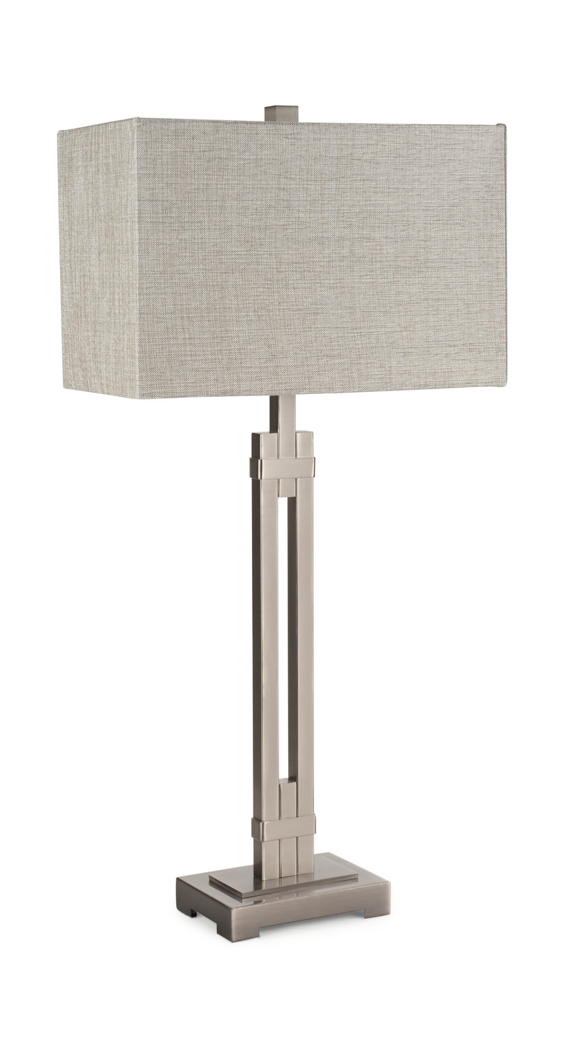 The Macy Table Lamp Has A Straight Edge Design With Warm And Inviting Finish Is Designed Brushed Silver Metal Base
