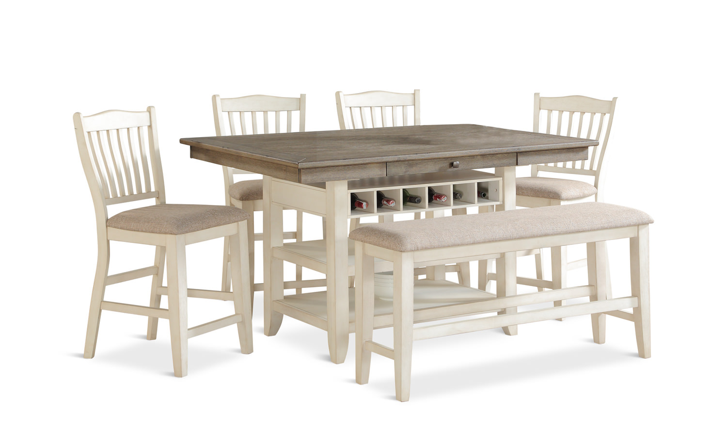 Columbia Counter Table With 4 Stools And By Hom Furniture