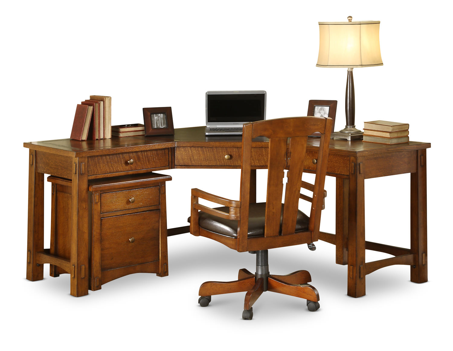 craftsman home corner desk by riverside hom furniture. Black Bedroom Furniture Sets. Home Design Ideas