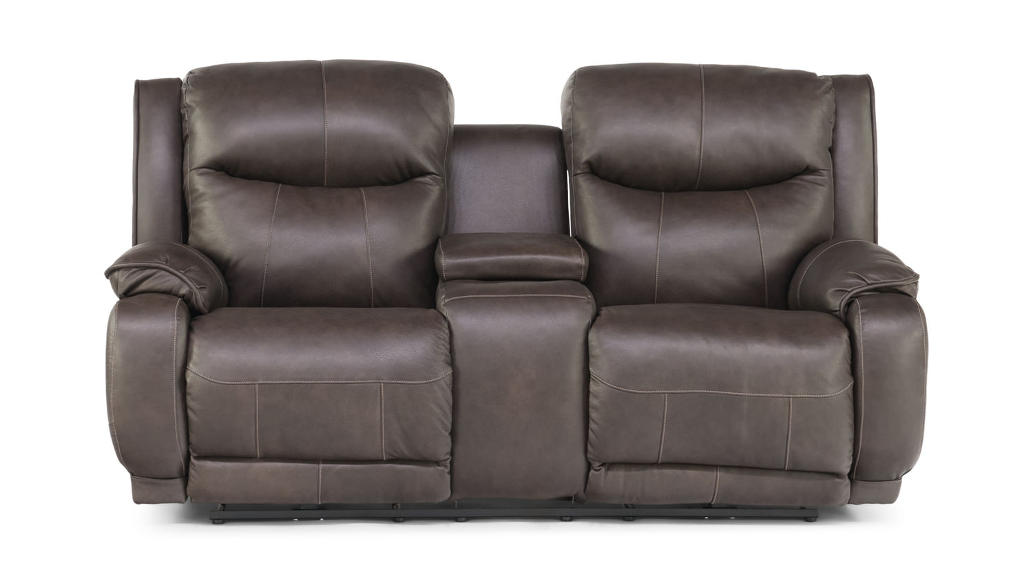 Swifty Leather Power Reclining Sofa With Console