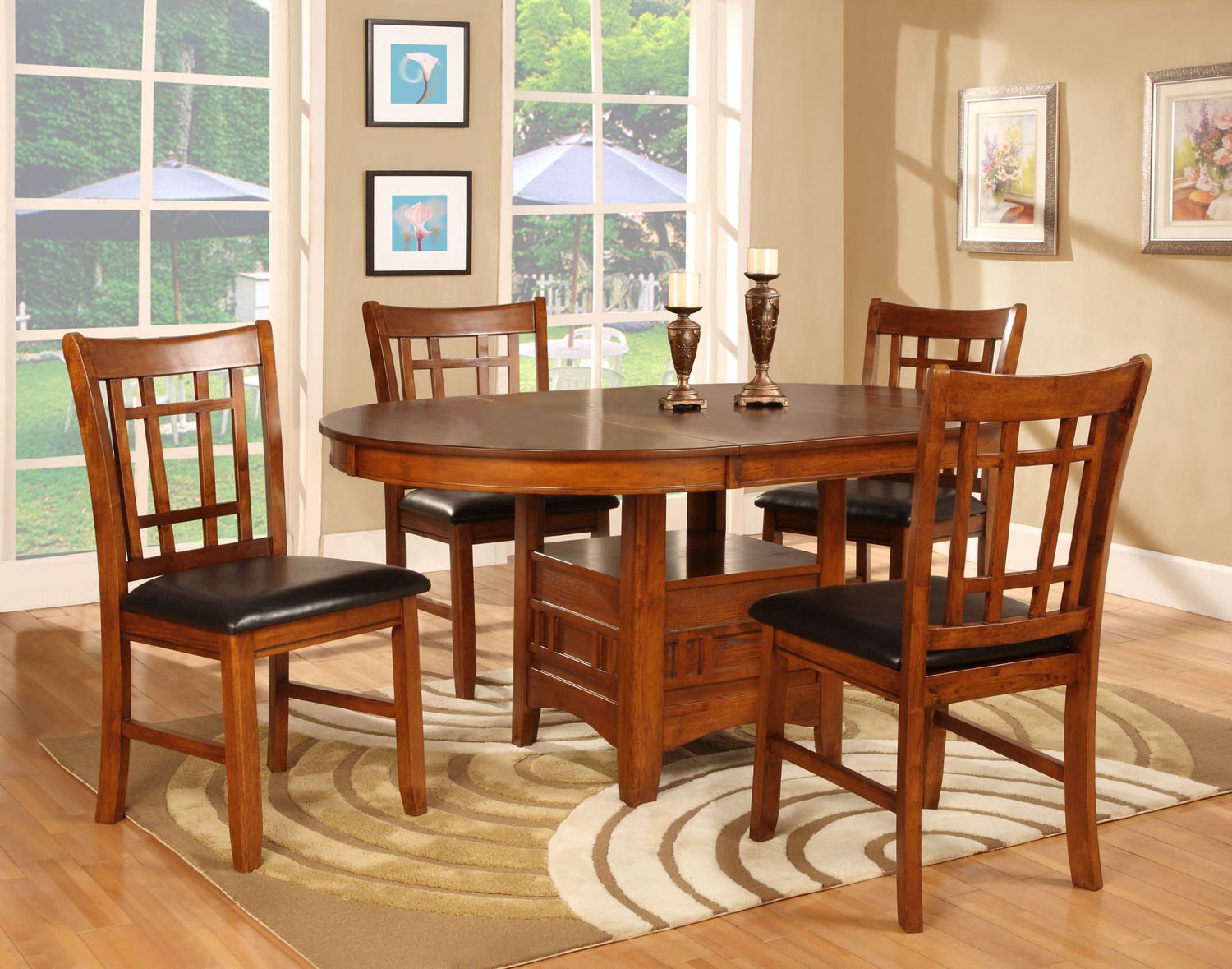 Mission park dining table and 4 side chairs hom for Round dining room table sets