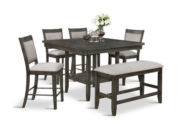 Image Fulton Grey Counter Table With 4 Stools And Bench