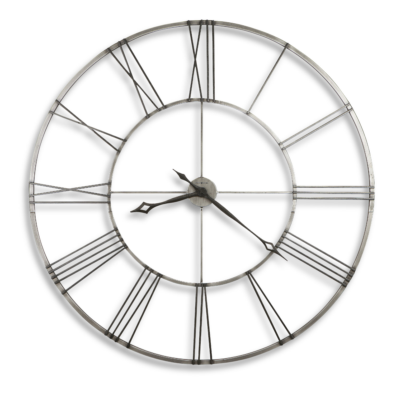 Stockton 49 wall clock by howard miller hom furniture - Large brushed nickel wall clock ...